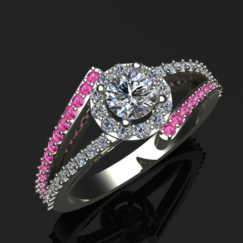 Antony Jewelers Engagement ring with diamonds and pink sapphires
