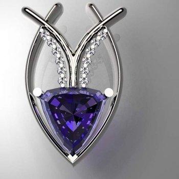 Geometrical pendant with amethyst