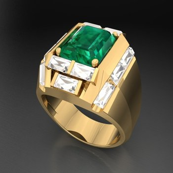 Classic design men's fashion ring with Columbian emerald