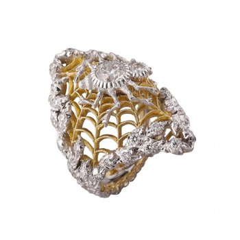 Spider style two tone fashion ring