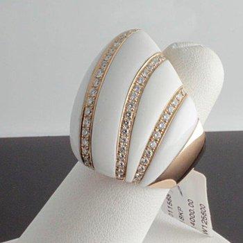 Unique fashion ring with white enamel and diamonds