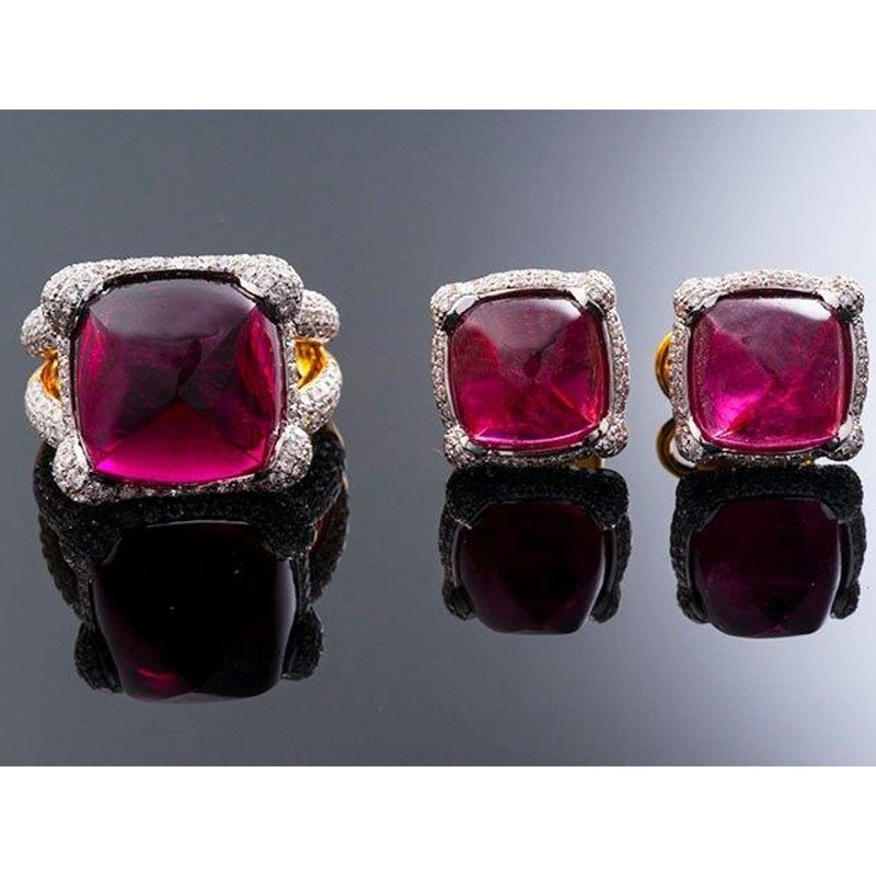 Antony Jewelers Timeless set:earrings and ring with rubies stones