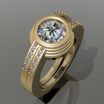 Double shank diamond men's ring