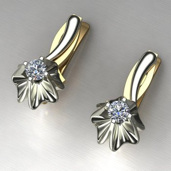 Flower style diamond earrings