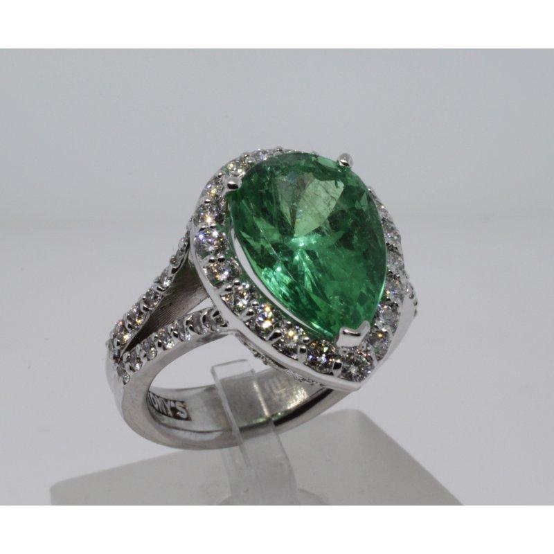 Antony Jewelers Columbian emerald pear shape cocktail ring