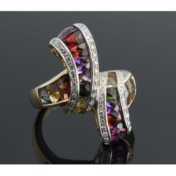 "Multicolor sapphires  ""rainbow"" #2 fashion ring"