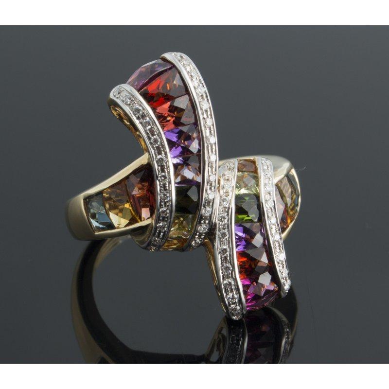 "Antony Jewelers Multicolor sapphires  ""rainbow"" #2 fashion ring"