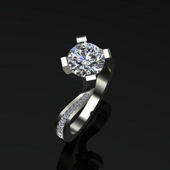 Uniquely shaped diamond engagement ring