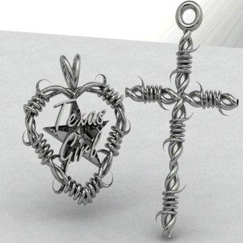 """""""Texas Girl"""" silver cross"""