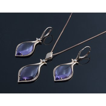 Charming rose gold set:pendant and earrings with amethyst stones
