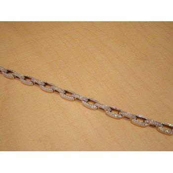 Modern chain style  yellow gold diamond bracelet