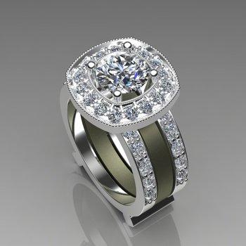 Yellow and white gold diamond engagement ring