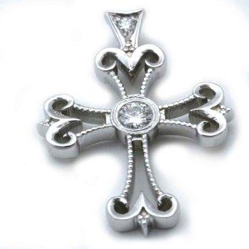 Cross white gold pendant