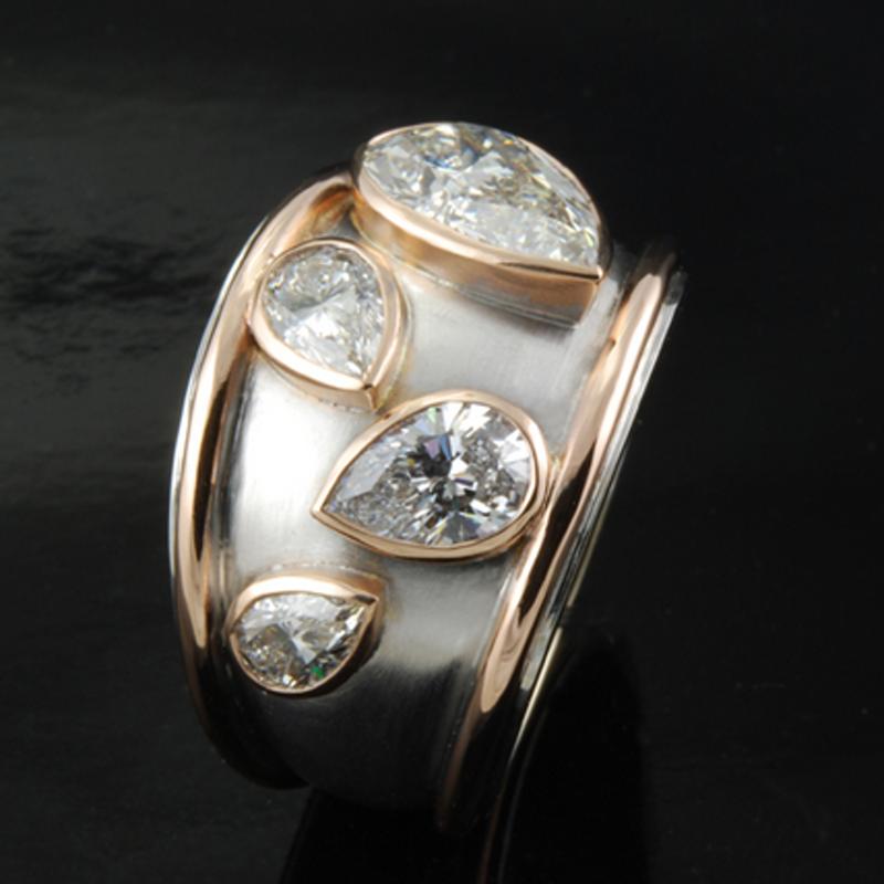 Antony Jewelers Fashion ring with pear shape diamonds