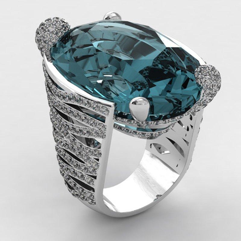Antony Jewelers Eye-catching fashion ring with aquamarine