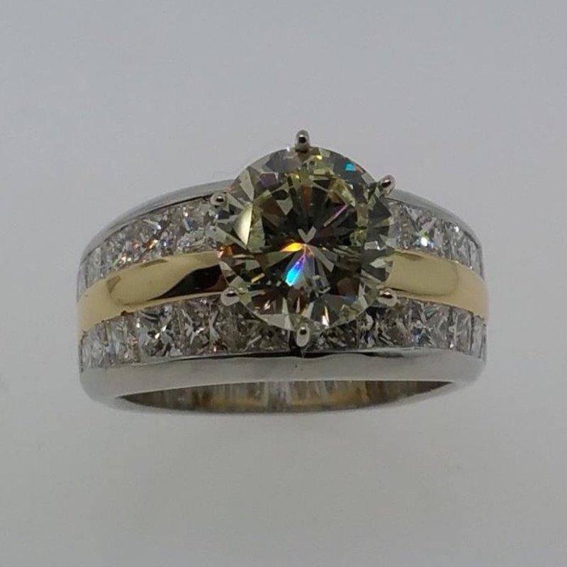Antony Jewelers Two tone diamond engagement ring with yellow diamond