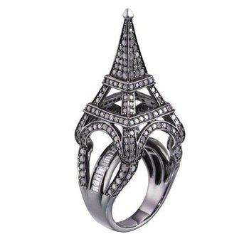 Eiffel tower style fashion diamond ring