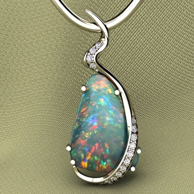 Antony Jewelers Uniquely designed necklace with multicolor opal