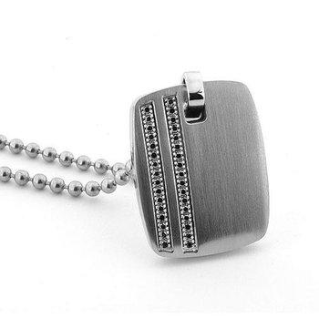 Modern men's necklace with black diamonds