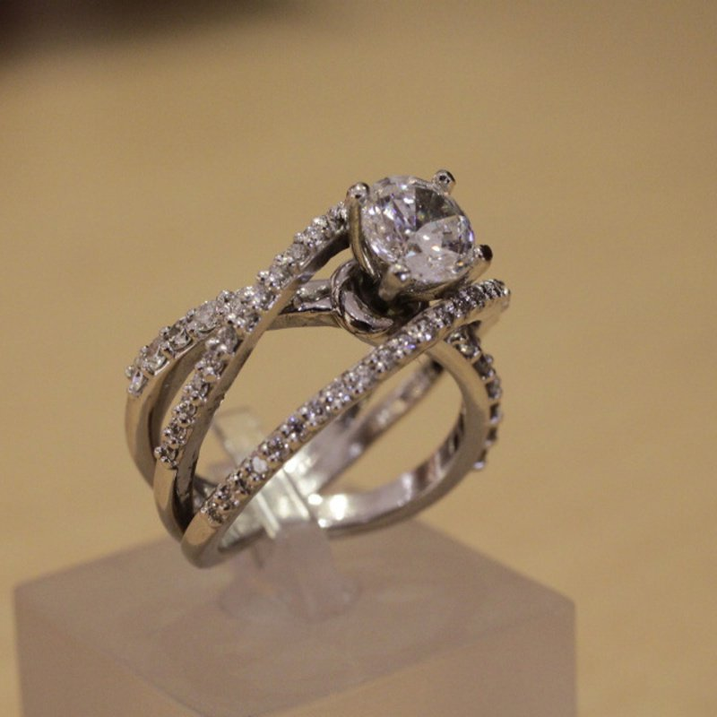 Antony Jewelers Assymetrical diamond engagement ring