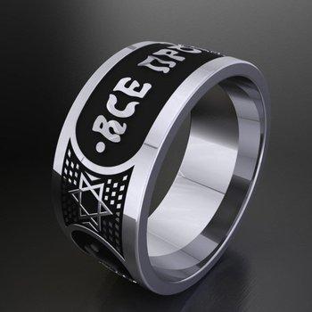 White gold men's ring with black enamel