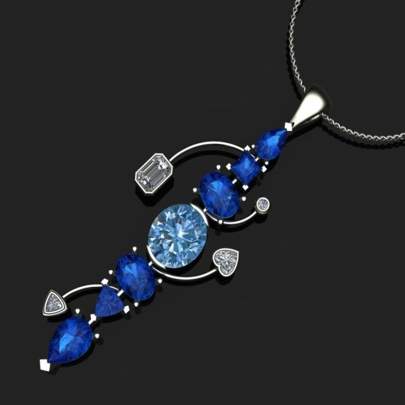Antony Jewelers Geometrical pendant with blue sapphires