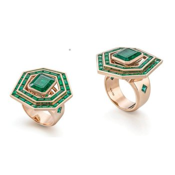 "Fashion ring with ""Columbian Emeralds"""