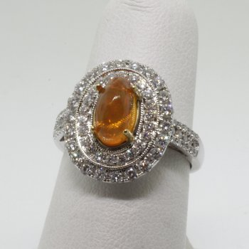 Double halo fashion ring with yellow citrine