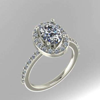 Diamond engagement ring with oval halo design