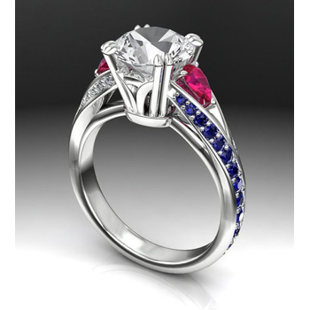 Engagement ring with Sapphire & Ruby