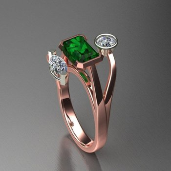 Geometrical emerald ring