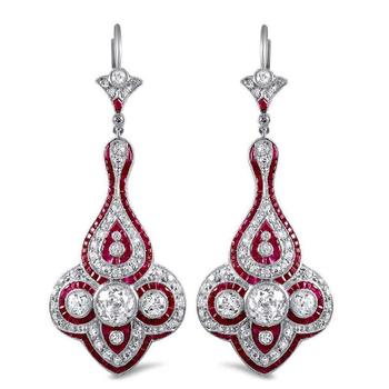 Dazzling Ruby & Diamond earrings