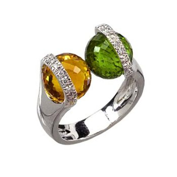 Fashion ring with tanzanites and diamonds