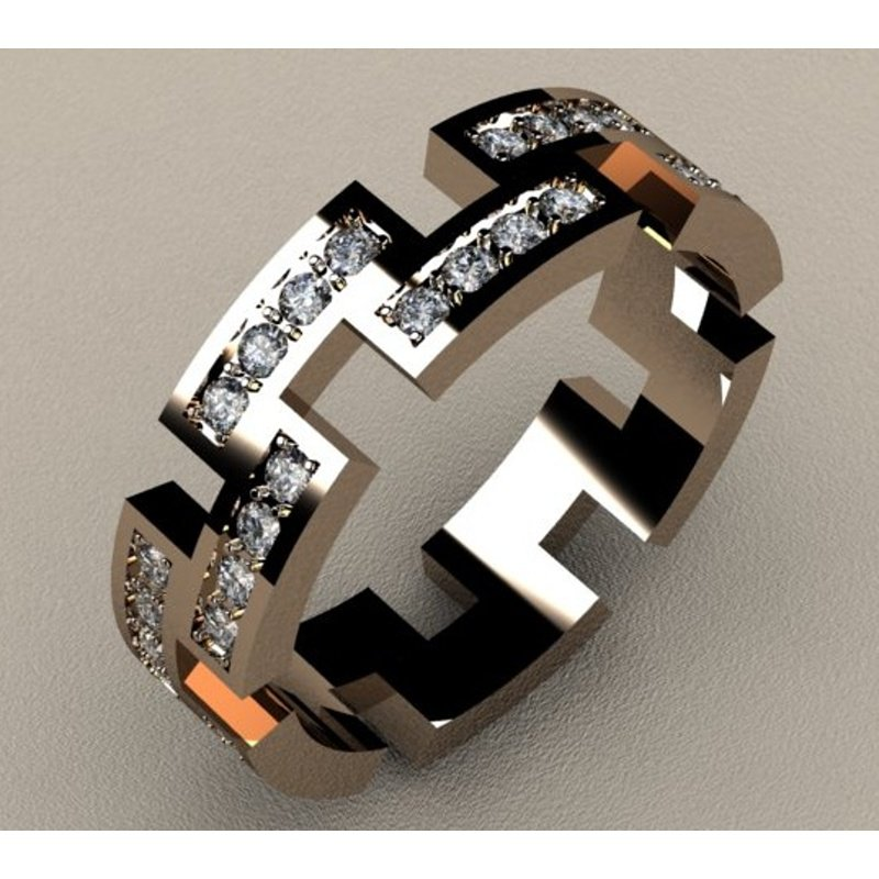Antony Jewelers Modern geometrically designed diamond band