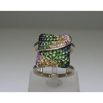 Bandage modern multicolor stones ring