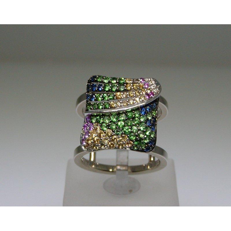 Antony Jewelers Bandage modern multicolor stones ring