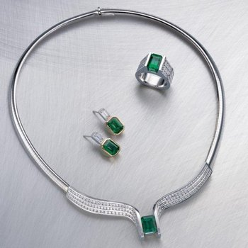 Contemporary set :necklace,earrings,ring with diamonds and Columbian emeralds