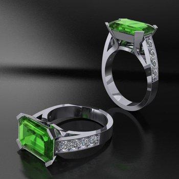 Green tourmaline fashion ring