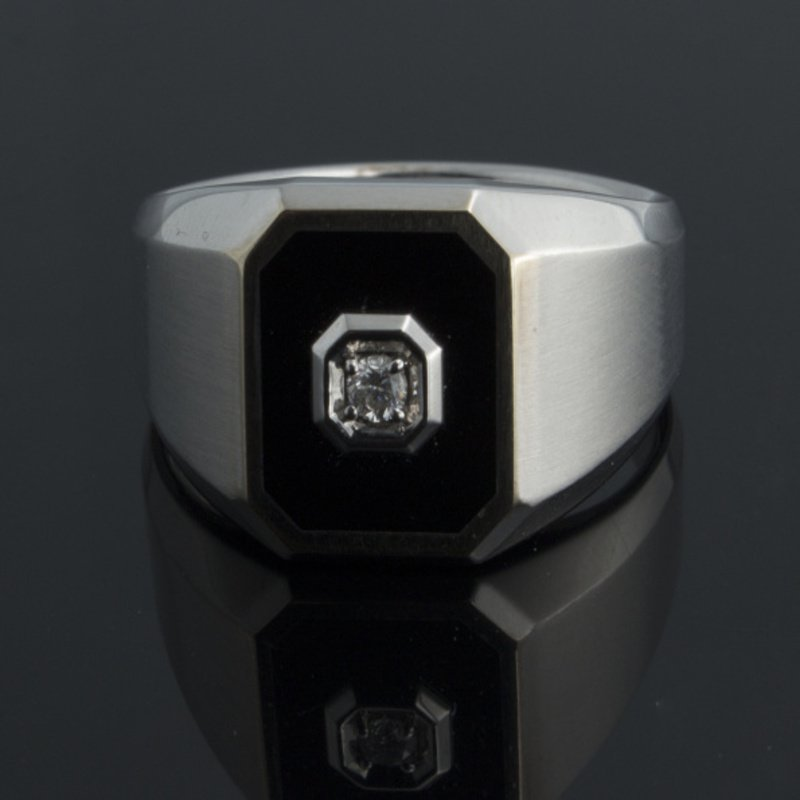 Antony Jewelers White gold brushed and high-polished men's ring