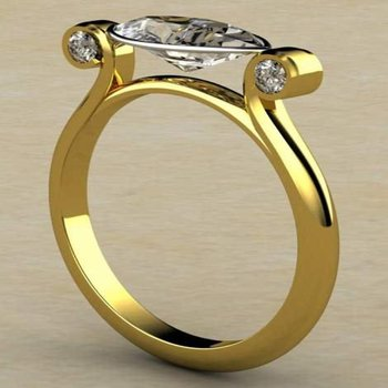 Unique yellow gold engagement ring