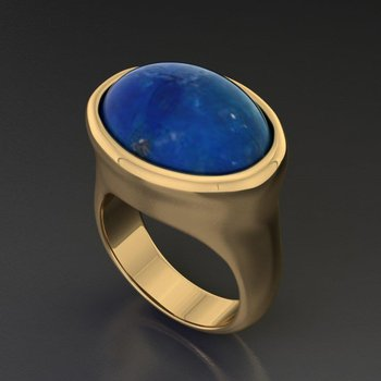 Fashion gold ring with star sapphire