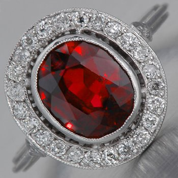Impressive design engagement ring with ruby stone