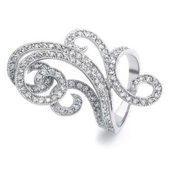"Curvy fashion ring with"" Belgian cut"" round diamonds"