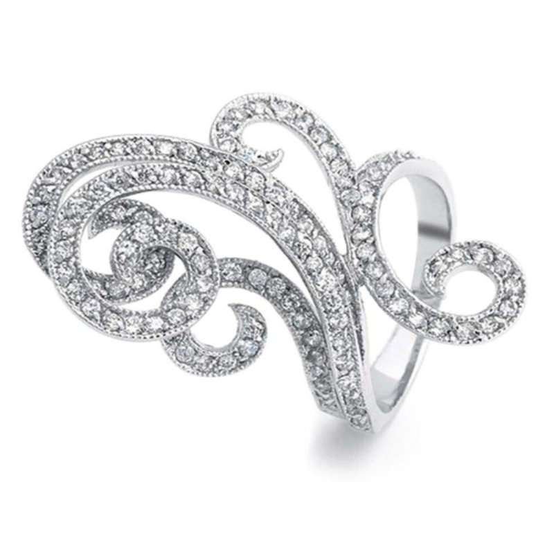 "Antony Jewelers Curvy fashion ring with"" Belgian cut"" round diamonds"