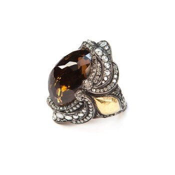 One-of-a-kind fashion ring with smoky topaz stone and gold inserts