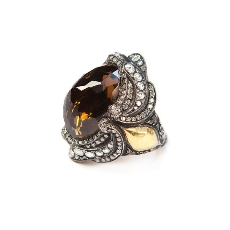 Antony Jewelers One-of-a-kind fashion ring with smoky topaz stone and gold inserts