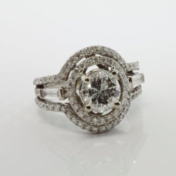 Diamond engagement ring with double halo design