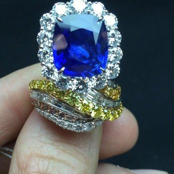 One-of-a-kind multi layered engagement ring with multicolor diamonds