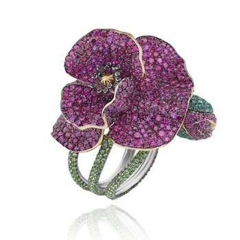 Floral finely detailed cocktail ring