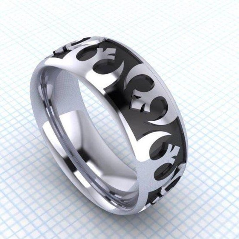 Antony Jewelers White gold men's ring with black enamel